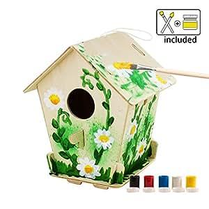 ROBOTIME 3D Jigsaw Puzzle in legno - Bird House con la Pittura Strumenti Educativi del Bambino Woodcraft Puzzle Kit Fai da te Giocattoli (Bird house 3)
