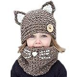 Yezelend Oreilles de petit chaton Coiffe d'hiver chaud chapeaux tricoté écharpe Set pour bébé Enfants Filles Garçons (Marron)