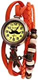 Alain Miller Damenuhr Armbanduhr Mintgrün Lederarmband 19cm Orange RP3705780005