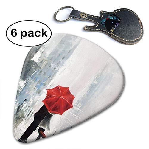 Lovers Kiss in The Rain Red Umbrella Romantic Celluloid Guitar Picks 6 Pack.71mm -