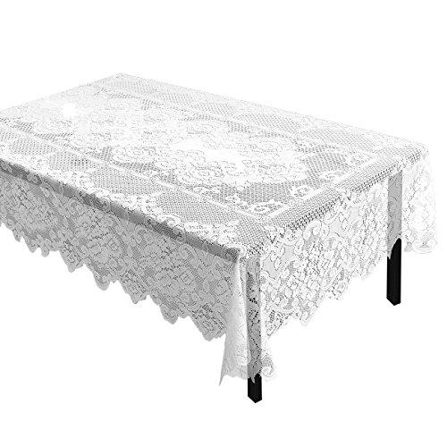 Juvale Spitze Tischdecke–Tischdecke, rechteckig, mit Elegante Blumen Mustern–Perfekt für Geburtstagsfeiern, Hochzeiten, Baby Duschen, Esszimmer Tische, weiß, 146,1x 242,6cm