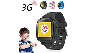 OAXIS Enfants Smart Watch Téléphone pour les enfants - écran tactile 3G SIM Card Smartwatch avec GPS Tracker Fitness Anti-perdus SOS Finder Geo Fencing pour les garçons filles enfant