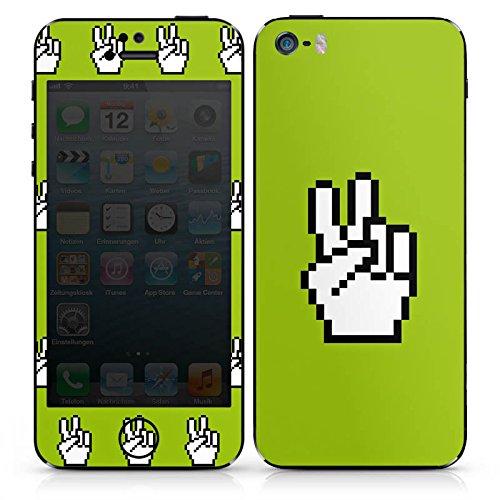 Apple iPhone 4 Case Skin Sticker aus Vinyl-Folie Aufkleber 8-Bit Peace Frieden Hand DesignSkins® glänzend