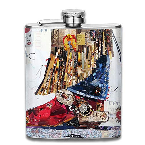 Presock Flachmann,Stainless Steel Hip Flask 7 Oz (No Funnel) Texas Cowgirl Boot Full Printed (Steel Boots Texas)