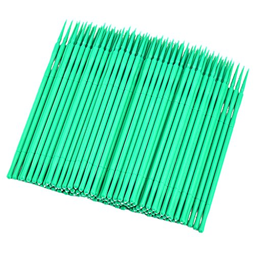 Sharplace 100x Coton Tige Micro Swab Jetable Applicateur Tatouage à Sourcils - vert