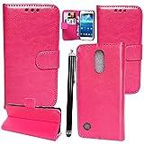 Mobile Stuff Hülle Für LG K10 2017, Luxus PU Leder Brieftasche Flip Case Cover Schütz Hülle Abdeckung Ledertasche für LG K10 2017 + Stylus (Plain Pink Book)
