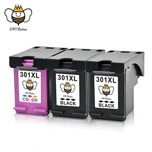 CMYBabee 3-Pack Hohe Ausbeute Kompatibel HP 301 XL 301XL Tintenpatrone (2 Schwarz, 1 Farbig) Kompatibel mit HP Deskjet 2540 2542 2544 1015a 1510 3050A Envy 4500 4502 4504 4505 4507 5530 5532