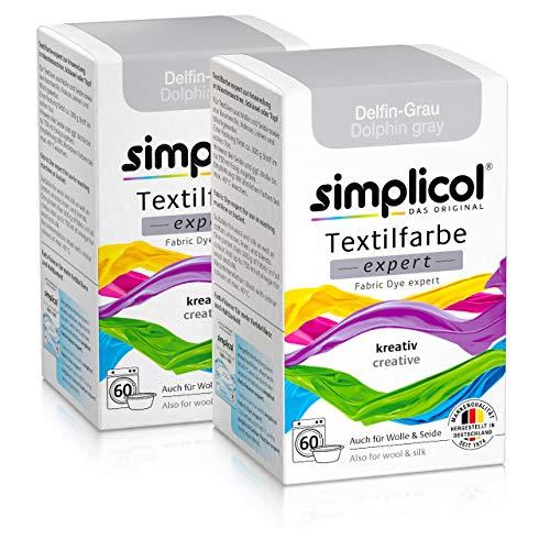 Simplicol Textilfarbe expert Delfin-Grau 1717, 2er Pack: Farbe für kreatives, einfaches Färben in der Waschmaschine oder manuell -