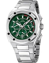 JAGUAR J805-2 Reloj cronógrafo de caballero de cuarzo, esfera negro y verde armys acero inoxidable