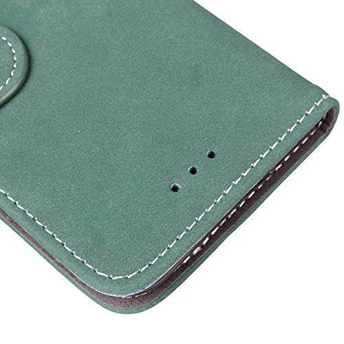 FUBAODA PU Cuir Folio iPhone 7 Plus Case Coque Etui Étui Portefeuille Case Cover [Skin-friendly][Suède][Givré] Wallet avec Stand support Housse de Protection pour Apple iPhone 7 Plus (Violet) vert