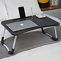 Hossejoy Foldable Laptop Table, Portable Standing Bed Desk, Breakfast Serving Bed Tray, Notebook Computer Stand Reading Holder for Couch Floor Black