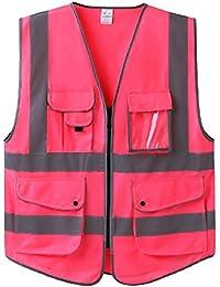 GOGO - Chaleco de seguridad con cremallera frontal y tiras reflectantes, 7 bolsillos, color