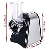 MeyKey Elektrisch Schnitzelwerk Versnipperaar Roestvrij Staal Groenteschaaf Salatschneider Met 5 Raspel en Snijkant Opzetstukken, 150 watt(Silver) Test