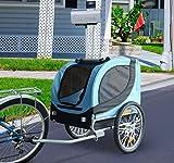 PawHut® Hundeanhänger Fahrradanhänger Hunde Fahrrad Anhänger Blau/Schwarz NEU - 2