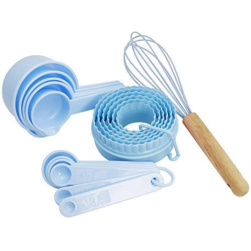 COM-FOUR® Juego de cocina y horneado de 18 piezas, batidor de silicona con mango de roble, cortador de galletas, cuchara medidora en azul (18 piezas - azul)