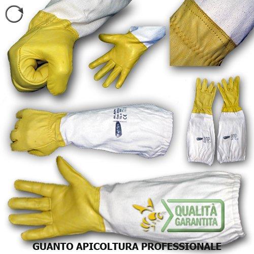 guanti apicoltura GUANTO APICOLTURA Professionale in pelle con manichetta in cotone (taglia 10)