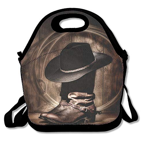 Western Cowboy Boots Extra Large Insulated Lunch Box Food Container -