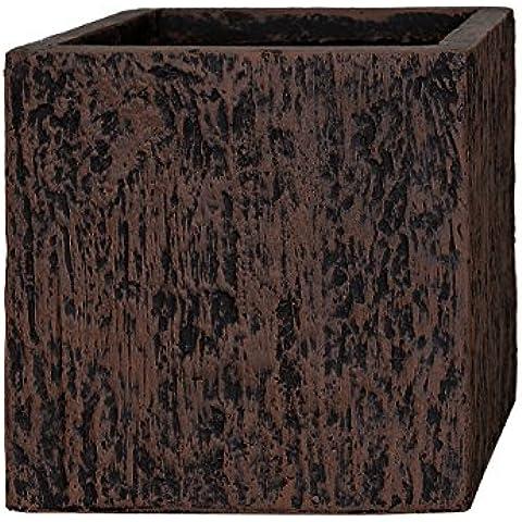 PFLANZWERK® Vaso da fiori CUBE Wood Marrone 23x23x23cm *Resistente al gelo* *Protezione UV* *Europea di qualità* - Granito Pietra Vaso