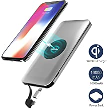 Cargador Inalámbrico Power Bank, Wofalo Qi Power Bank 10000mAh Batería Externa Apoyar QI Carga con Construido en Cable Micro y Adaptador Lightning para iPhone X,iPhone 8,Samsung Galaxy S8/Note 8 y Todos Móviles con QI