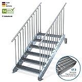 Außentreppe 6 Stufen 100 cm Laufbreite - beidseitiges Geländer - Anstellhöhe variabel von 100 cm bis 120 cm - Gitterroststufe ST2 - feuerverzinkte Stahltreppe mit 1000 mm Stufenlänge als montagefertiger Bausatz