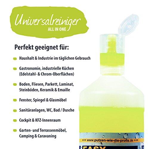 EASY Universal-Reiniger Konzentrat 1.000 ml, Profi-Reinigungsmittel, Glasreiniger, WC Reiniger, Badreiniger & Küchenreiniger für alle glatten Flächen - tierversuchsfrei - 3