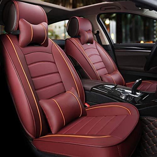 H.aetn Autositzbezüge, Universal Leder Vorder- und Rückseite 5-Sitzer Set Deluxe Atmungsaktiv mit Kissen (Farbe: Rot) -