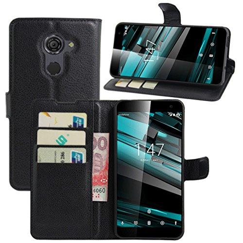 HualuBro Vodafone Smart Platinum 7 Hülle, Premium PU Leder Leather Wallet Handyhülle Tasche Schutzhülle Case Flip Cover mit Karten Slot für Vodafone Smart Platinum 7 Smartphone (Schwarz)