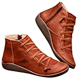 MoneycomWomen's Casual Flat Leather Retro Lace-up Boots Side Zipper Round Toe Shoe Boots 2019 New Arch Support Boots marron(39EU)