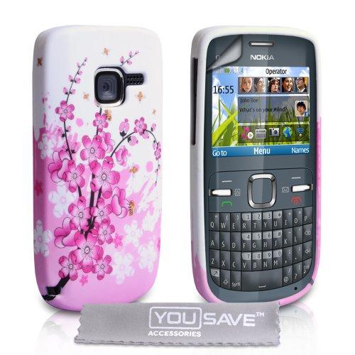yousave-accessories-carcasa-para-nokia-c3-silicona-con-protector-de-pantalla-y-gamuza-limpiadora-gri