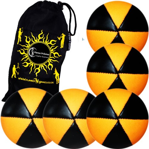 5x Flames N Games ASTRIX UV Thud Jonglierbälle 5er Set (Schwarz/UV Orange) Profi Beanbag Bälle aus Glattleder (Leather) + Reisetasche! Ideal für Anfänger und Profis!