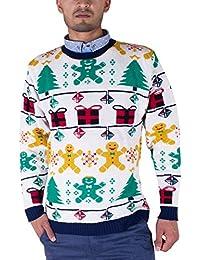 MENS UNISEX CHRISTMAS REINDEER gingerbread man NOVELTY KNITTED XMAS JUMPERS KNITWEAR TOP NAVY RED Ladies Plus SIZE S M L XL (Mens M Ladies (12-14), gingerbread man)