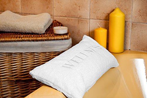 Nackenkissen mit Saugnäpfen als Reisekissen oder Wannenkissen aus weichem Microfaser Kissen für Badewanne Aufschrift