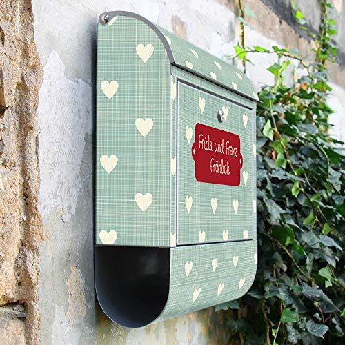 BANJADO Design Briefkasten mit Zeitungsfach, 2 Schlüssel, A4 Einwurf, silber pulverbeschichtet, mit Motiv WT Muster Herzen - 2