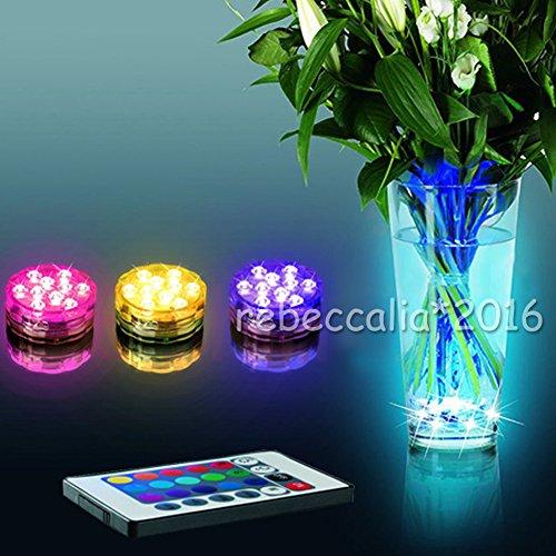 EMOTREE 4x RGB LED Unterwasser Licht mit 4 Fernbedienung Vase Aquarium Poolbeleuchtung Wasserdicht Deko Lampe