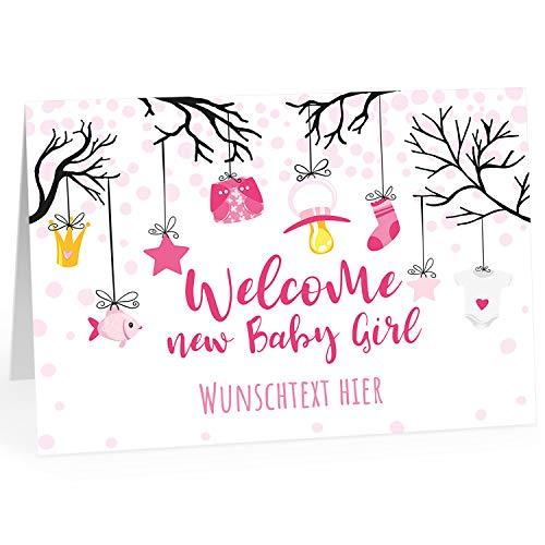 Große XXL Glückwunschkarte zur Geburt (DIN A4) PERSONALISIERT - Welcome Baby rosa englisch Willkommen Girl - mit Umschlag/Edle Design Klappkarte/Baby/Willkommen/Eltern/Extra Groß