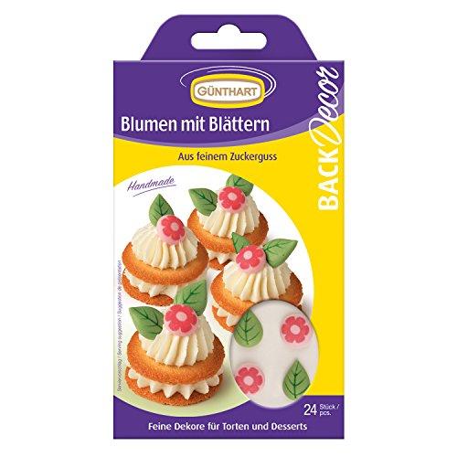 Blumen mit Blättern   aus Zucker   24 Stk.   für Cupcakes & Cakepops ()