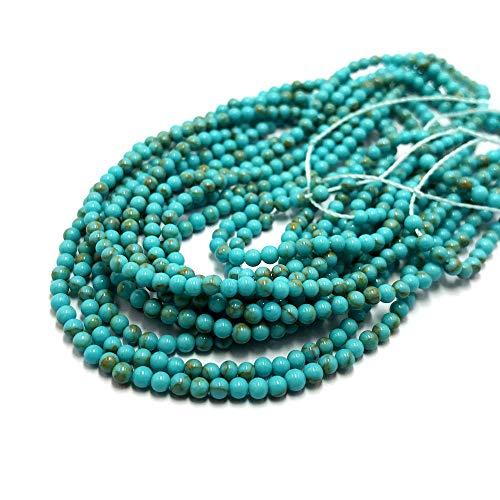 Thetastejewelry 2mm rotondo turchese verde perline howlite 38,1cm 38cm creazione di gioielli collana guarigione