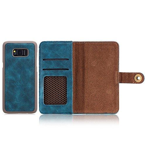 EKINHUI Case Cover Retro Style abnehmbare magnetische Leder Tasche mit großem Capard Card Cash Slots und Secure Niet Gürtelschnalle für Samsung Galaxy S8 Plus ( Color : Brown ) Blue