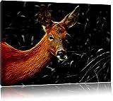 Dark stolzes Reh beim Fressen schwarz/weiß Deluxe Format: 120x80 cm auf Leinwand, XXL riesige Bilder fertig gerahmt mit Keilrahmen, Kunstdruck auf Wandbild mit Rahmen, günstiger als Gemälde oder Ölbild, kein Poster oder Plakat