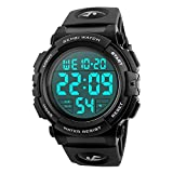 Vemupohal Herren Schwarz Digital Armbanduhr LED Display Sport Military Uhren 5 ATM wasserdicht Armbanduhr für Jungen Alarm Uhr Outdoor Stoppuhr