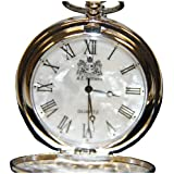 Silver Quartz Movement Pocket Watch with Mother of Pearl Face
