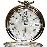 Argento meccanismo al quarzo orologio da taschino con madreperla viso