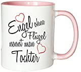 Mister Merchandise Kaffeebecher Tasse Engel ohne Flügel nennt Man Tochter Kind Geburt Schwanger Geschenk Geburtstag Wunschkind Teetasse Becher Weiß-Rosa