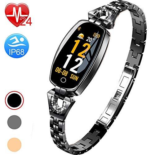 COLOM Mujer de exquisito reloj smart Watch de, Fitness Tracker Presión arterial Pulso Monitor de sueño ip67 impermeable reloj para Mujer-Negro