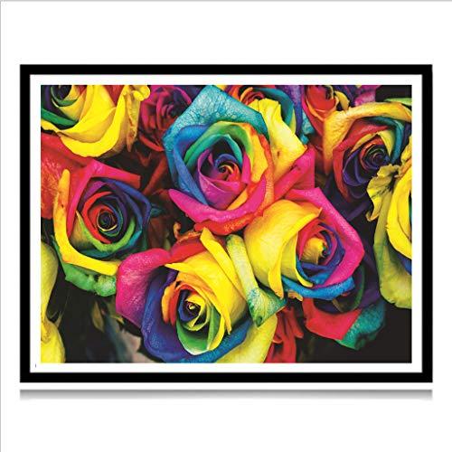 SoundJA DIY 5D Diamant Malen nach Zahlen Kit, Full Dril Kristall Strass Stickerei Gemälde Kreuzstich eingeklebt Wand Aufkleber Kunst Craft Supply Canvas Wall Decor, Rose a -