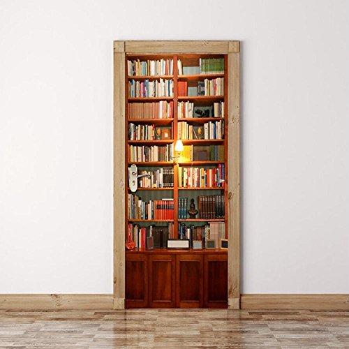 YINGER 3D Türmalereien Bücherregal Tür Tapete Herausnehmbar Selbstklebende Wandbilder für Schlafzimmer Haustür Wohnzimmer Büro Wandaufkleber Haus Dekoration 38.5 * 200 * 2CM , Bild farbe 2 Tür Bücherregal