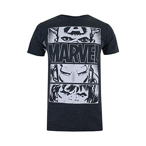 Marvel Herren Hero Eyes Light T-Shirt, Grau (Dark Heather DKH), XXL - Dark Heather T-shirt