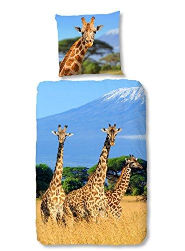 Aminata Kids - Kinder-Bettwäsche-Set 135-x-200 cm Giraffe-Motiv Afrika Safari 100-% Baumwolle Renforce hell-blau-e gelb-e
