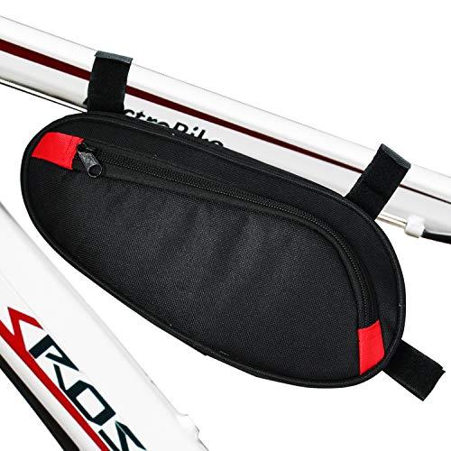 Timoston Fahrradtasche, Fahrrad Oberrohrtasche mit Werkzeug Wasserfeste Fahrrad-Rahmentasche für die Stange Dreieckstasche mit Reflektor-Aufnehmer Fahrradwerkzeugtasche (Schwarz)
