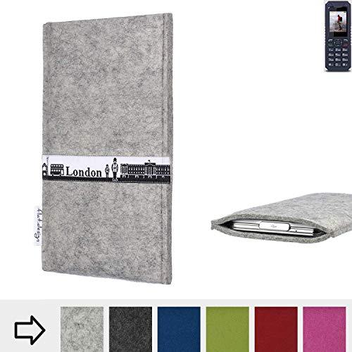 flat.design für bea-fon AL250 Schutz Hülle Handy Case Skyline mit Webband London - Maßanfertigung der Schutztasche Handy-Tasche aus 100% Wollfilz (hellgrau) für bea-fon AL250